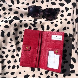 NWT! Lodis  red Slim Leather Wallet